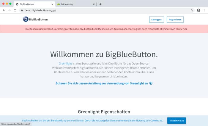 BigBlueButton-Tutorial: Überlastung