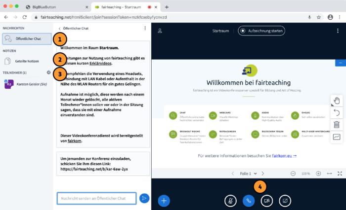 BigBlueButton-Tutorial: Chat, Geiteilte Notizen, Teilnehmende