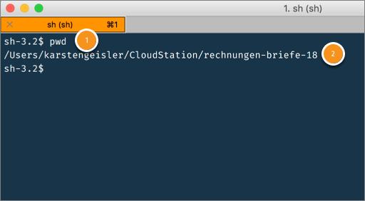 Screenshot Terminal: pwd checkt, ob ich auch wirklich im richtigen Verzeichnis bin