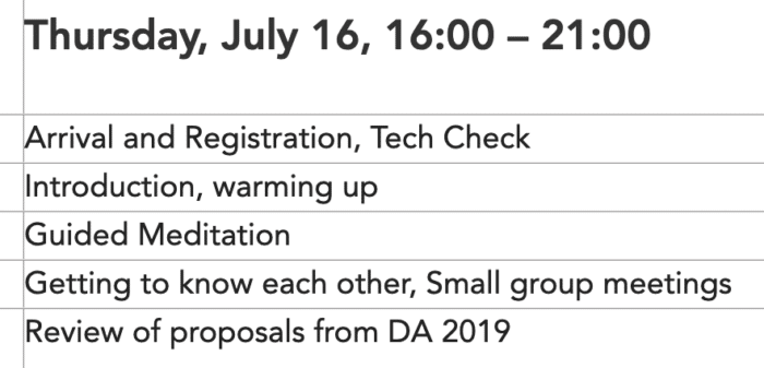 Screenshot des Ablaufplans der Delegiertenkonferenz 2020 Gemeinwohl-Ökonomie