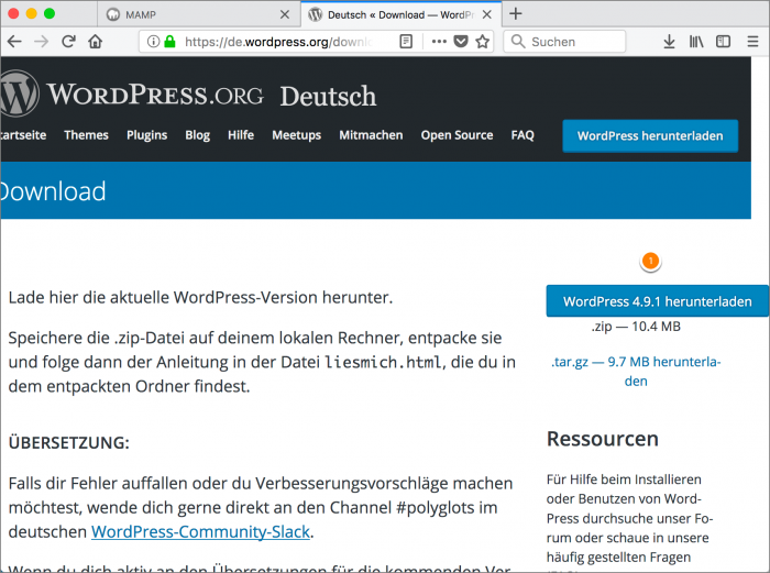 MAMP / WordPress Screenshot 7: WordPress download 2