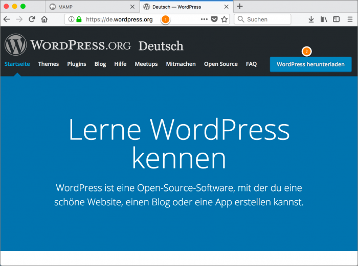 MAMP / WordPress Screenshot 6: WordPress download 1