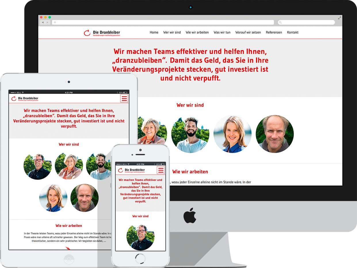 grafik- & webdesign köln: arbeitsbeispiel die-dranbleiber.de