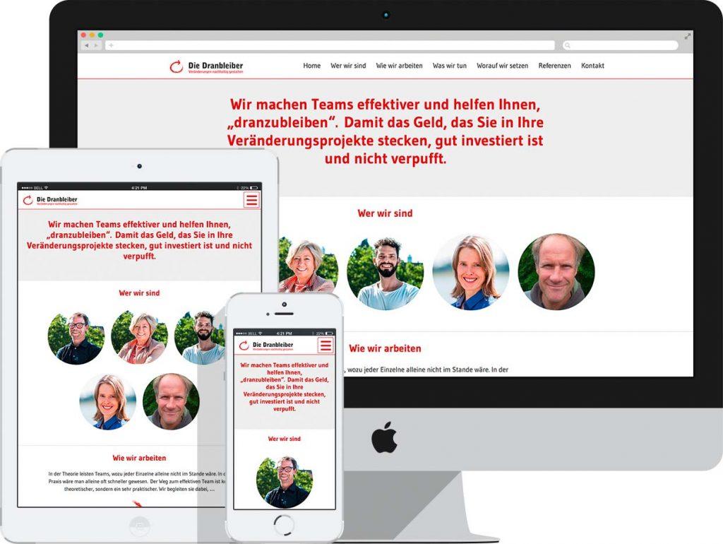 grafikdesign & webdesign köln: arbeitsbeispiel homepage die-dranbleiber.de