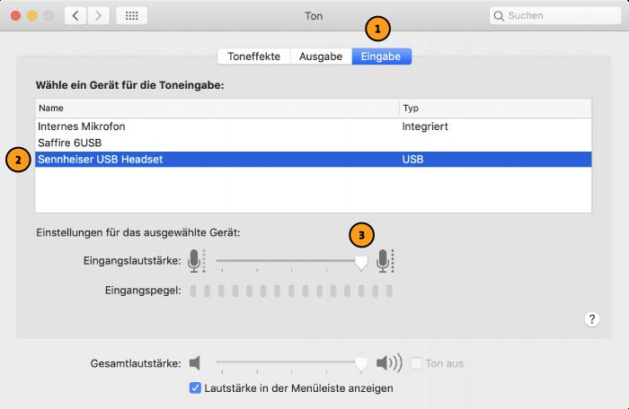 MacOS: Toneingabe einstellen