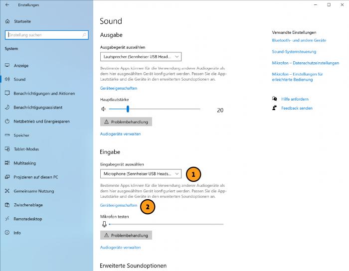 Windows: Eingabequelle für Jitsi ändern