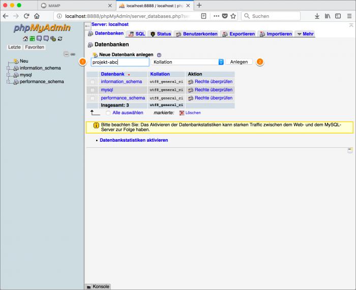 MAMP / WordPress Screenshot 5: PHPMyAdmin – neue Datenbank anlegen