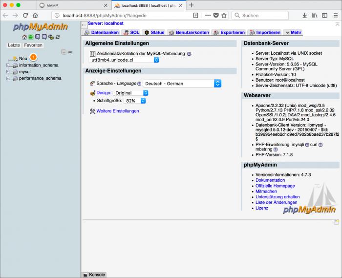 MAMP / WordPress Screenshot 4: PHPMyAdmin – neue Datenbank anlegen