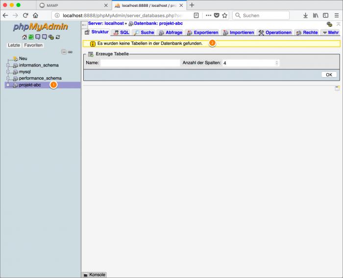 MAMP / WordPress Screenshot 6: Übersicht PHPMyAdmin