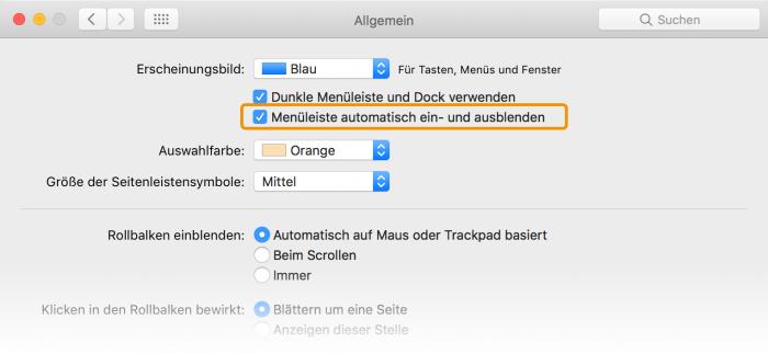Screenshot Mac Systemeinstellungen Menüleiste einblenden