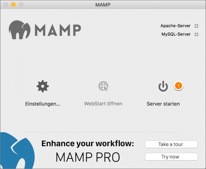 MAMP / WordPress Screenshot 1: Server starten