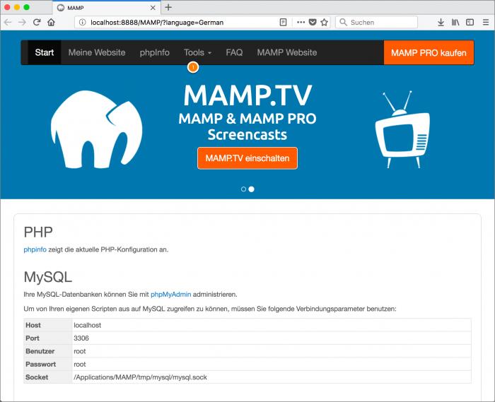 MAMP / WordPress Screenshot 3: PHPMyAdmin öffnen