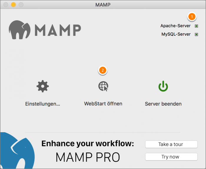 MAMP / WordPress Screenshot 2: WebStart öffnen