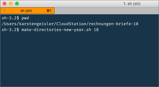 Screenshot Terminal: das Script ausführen