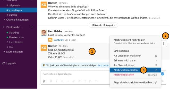 Slack: Nachricht im Nachhinein bearbeiten