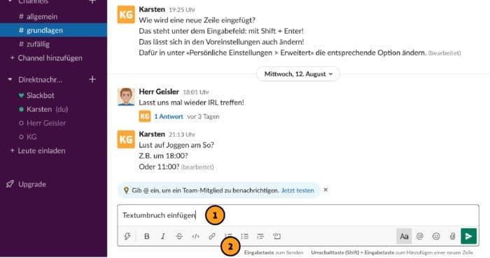 Slack: eine neue Zeile / einen Textumbruch einfügen