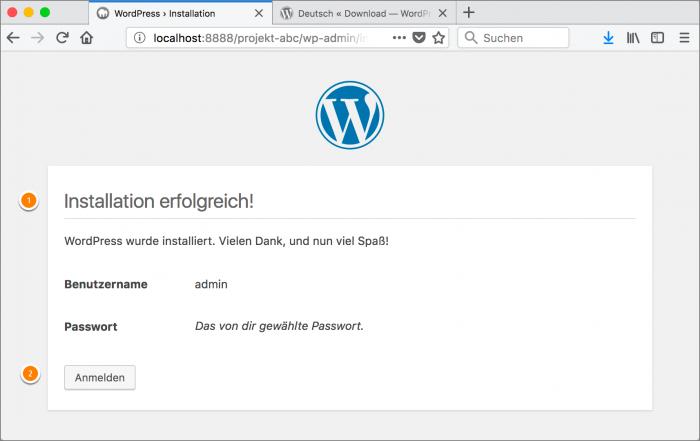 MAMP / WordPress Screenshot 16: Installation erfolgreich!