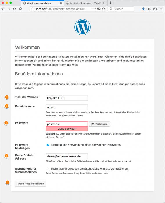MAMP / WordPress Screenshot 15: Infos eingeben