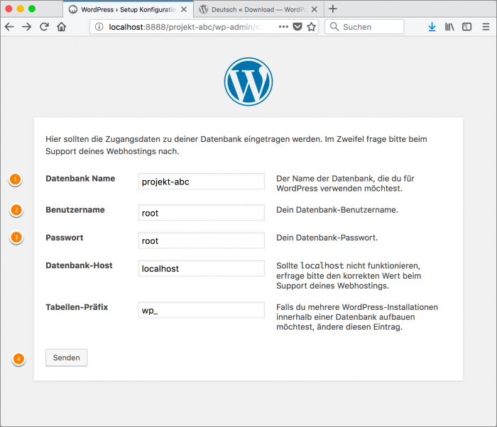 MAMP / WordPress Screenshot 13: WordPress-Setup