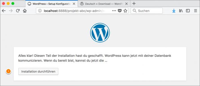 MAMP / WordPress Screenshot 13: Bestätigung