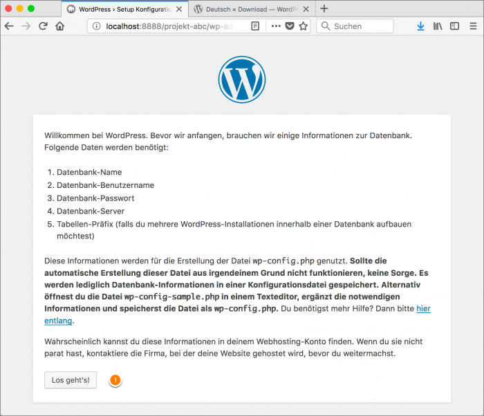 MAMP / WordPress Screenshot 12: WordPress-Installation