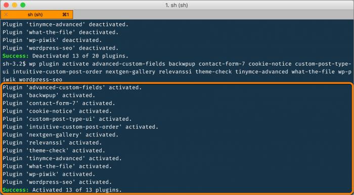 wp-cli: das vorige Set an Plugins ist wieder aktiv