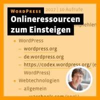 Beitragsbild für »WordPress: Onlineressourcen zum Einsteigen«